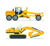 Máquinas da construção, caminhões, veículos para o transporte, asfalto, mistura concreta, guindaste ilustração stock
