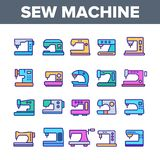 Máquinas de coser, sistema de los iconos de Equipment Vector Linear del sastre stock de ilustración