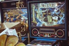 Máquinas de jogo do arcarde do vintage Fotografia de Stock