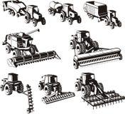 Máquinas de la agricultura fijadas Imágenes de archivo libres de regalías