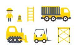 Máquinas de la construcción del vector fijadas Imagen de archivo libre de regalías