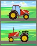 Máquinas del tractor en el ejemplo del vector del sistema de los campos ilustración del vector