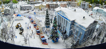 Máquinas do afastamento da neve no Natal Imagem de Stock Royalty Free