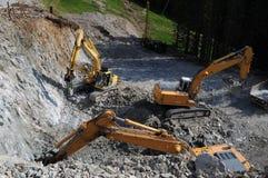 Máquinas escavadoras da construção Foto de Stock Royalty Free