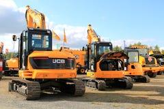 Máquinas escavadoras da esteira rolante do JCB na exposição Imagens de Stock