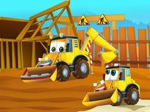 Máquinas escavadoras do pai e do filho Fotos de Stock Royalty Free