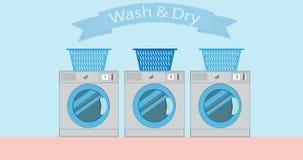 Máquinas industriales del lavadero, animación de la historieta de la lavadora de la máquina de la lavandería 2.a en 4K almacen de video
