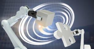 Máquinas robóticas e interfaz de la tecnología del círculo que brilla intensamente ilustración del vector