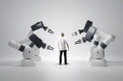 Máquinas y seres humanos robóticos imagenes de archivo