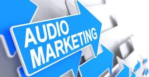 Márketing audio - mensaje en flecha azul 3d Imagen de archivo libre de regalías