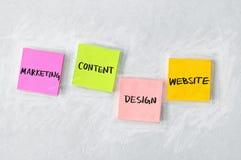 Márketing, contenido, diseño, y sitio web Imagen de archivo libre de regalías