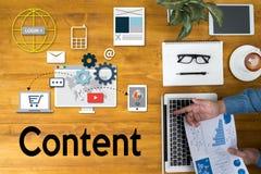 Márketing contento, concepto en línea, medio Blogging de los datos contentos Imágenes de archivo libres de regalías