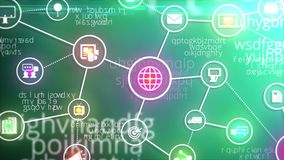 Márketing de Digitaces y muestra del icono de la red del negocio y animación en línea del símbolo en concepto de la informática e stock de ilustración