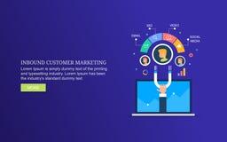Márketing de entrada, atrayendo al nuevo cliente con estrategia de marketing digital, promoción contenta digital ilustración del vector