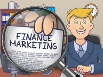 Márketing de finanzas a través de la lupa Doodle el estilo Imagen de archivo
