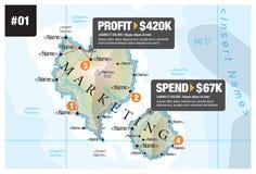 Márketing de Infographic del mapa fotografía de archivo libre de regalías