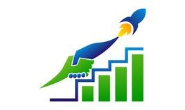 Márketing de negocio Rocket Handshake stock de ilustración