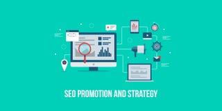 Márketing de Seo, medios promoción digital, estrategia de optimización de la búsqueda, concepto del márketing de Internet Bandera stock de ilustración