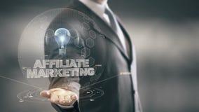Márketing del afiliado con concepto del hombre de negocios del holograma del bulbo stock de ilustración
