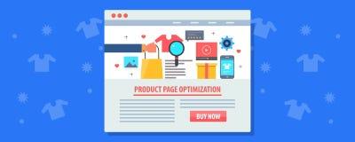Márketing del comercio electrónico - optimización de la página del producto, concepto del seo del comercio electrónico Bandera pl ilustración del vector