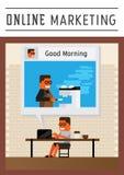 Márketing en línea de la cafetería Imagen de archivo