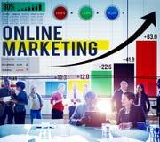 Márketing en línea que hace publicidad de concepto comercial de la marca imágenes de archivo libres de regalías