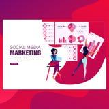 Márketing, finanzas y márketing forsocial de los medios de las plantillas del diseño de la página web Conceptos modernos del ejem libre illustration