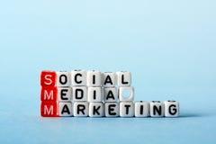 Márketing social de SMM medios Foto de archivo