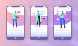 Márketing social onboarding las pantallas móviles del app ilustración del vector