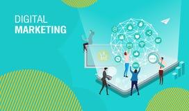 Márketing, trabajo en equipo, estrategia empresarial y analytics digitales del negocio ilustración del vector