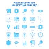 Márketing y SEO Blue Tone Icon Pack - 25 sistemas del icono stock de ilustración