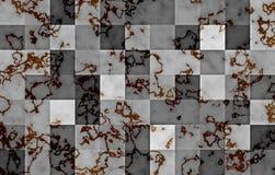 Mármol texturizado con los bloques cuadrados geométricos de la pendiente Remolinos y ondulaciones negros y del oro naturales en g ilustración del vector