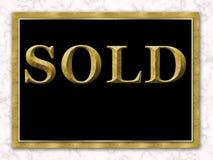 Mármol vendido del blanco del negro del oro de la muestra de Real Estate foto de archivo libre de regalías