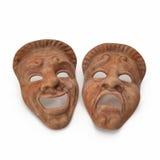 Mármore vermelho ajustado máscaras do teatro no branco ilustração 3D Imagem de Stock