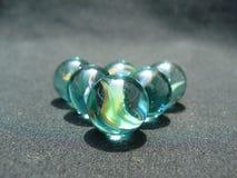5 mármores de vidro imagem de stock