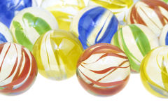 Mármores de vidro coloridos, fim acima fotos de stock