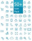 Más de cincuenta alinean el web, la oficina, y el paquete del icono del negocio libre illustration