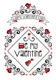Más garabatos de la tarjeta del día de San Valentín Imagenes de archivo