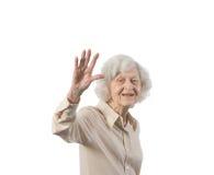 Más vieja señora feliz Waving fotografía de archivo