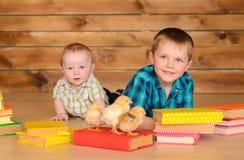 Más viejos y más jovenes muchachos con los libros y los polluelos fotos de archivo