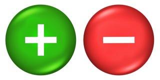 Más y los botones de los signos de menos stock de ilustración