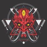 Máscara épica del samurai del demonio ilustración del vector