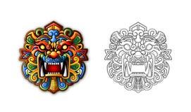 Máscara antigua china del tigre del estilo Imagen de archivo