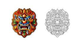 Máscara antigua china del tigre del estilo stock de ilustración