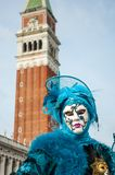 Máscara azul de Veneza fotografia de stock royalty free