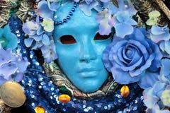 Máscara azul no carnaval de Veneza Fotografia de Stock