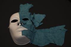 Máscara blanca en fondo negro Imágenes de archivo libres de regalías