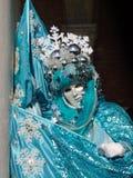 máscara bonita em Veneza, inverno com floco de neve imagens de stock royalty free