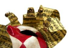 Máscara checkered vermelha & branca do carnaval Fotos de Stock Royalty Free
