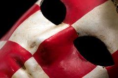 Máscara checkered vermelha & branca do carnaval Fotografia de Stock Royalty Free